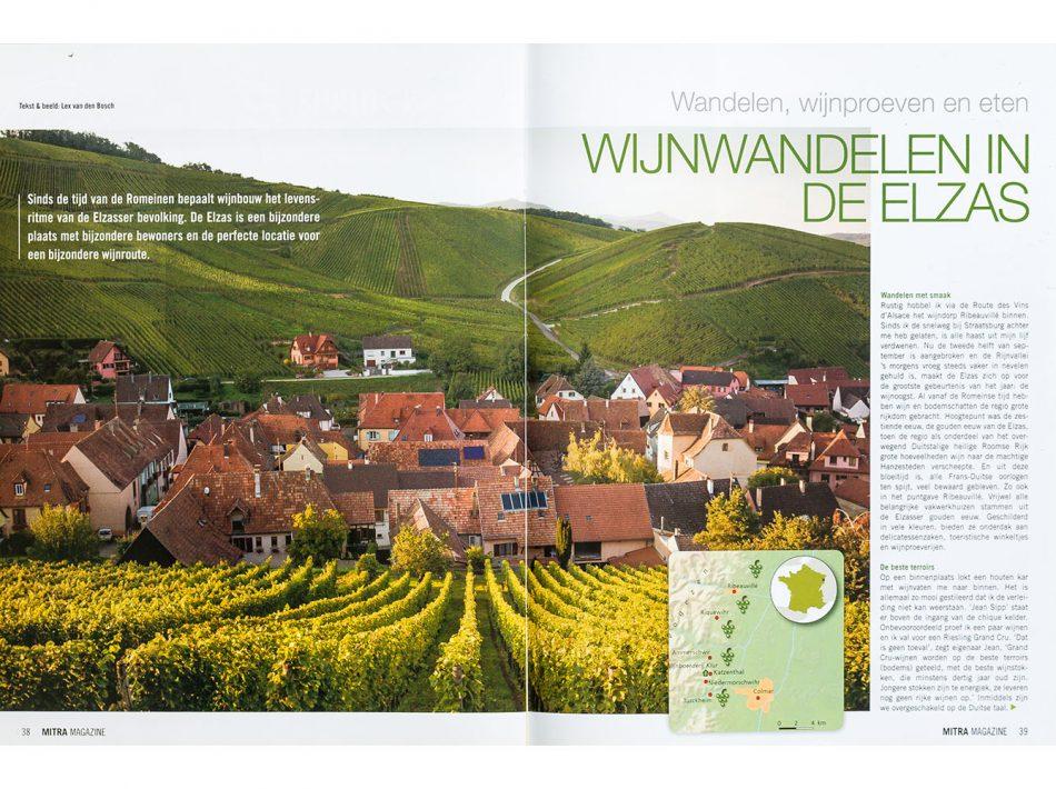 Mitra Magazine, artikel over wijnwandelen in de Elzas (Teskt & Beeld Lex van den Bosch)