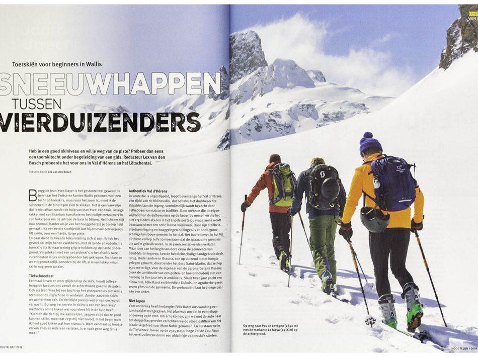 Artikel over toerskiën in Wallis, gepubliceerd in Hoogtelijn (NKBV) (Tekst & Beeld Lex van den Bosch)