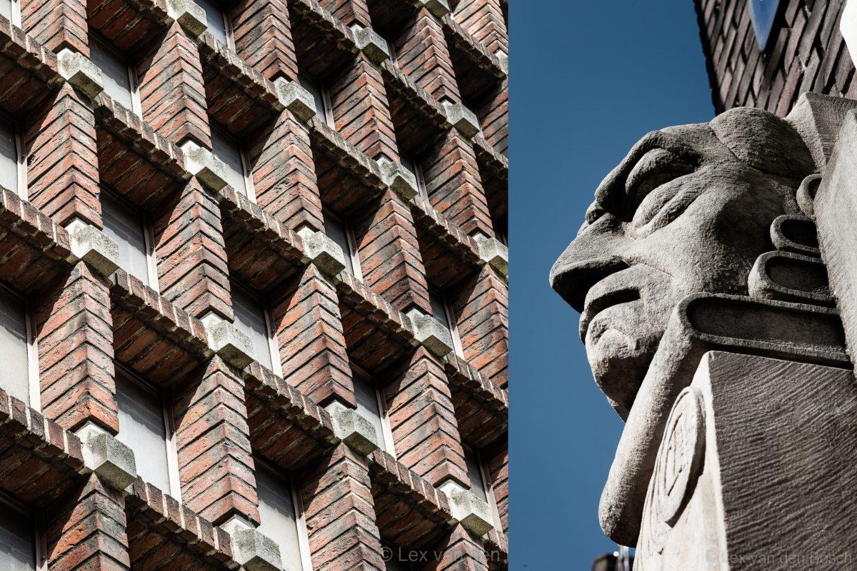 Baksteen versieringen en gebruik van beelden in de gevels kenmerken de architectuurstroming van de Amsterdamse School