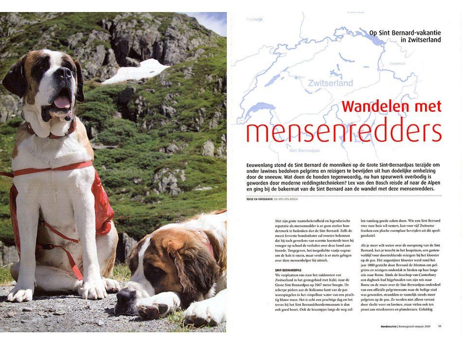 Publicatie in Hondenleven, over wandelen met honden op de Grote Sint-Bernhardpas (Tekst & Beeld Lex van den Bosch)